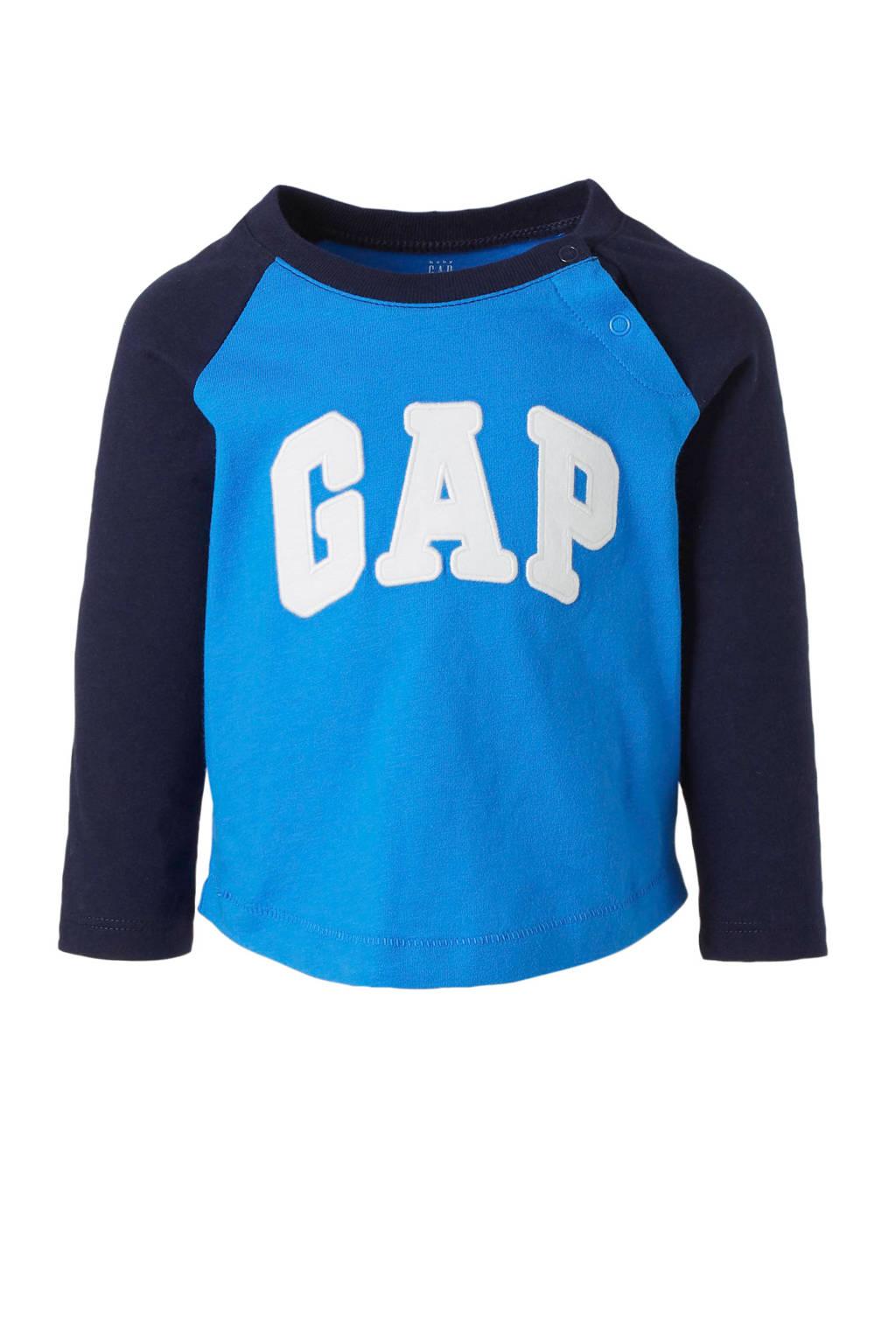 GAP baby longsleeve met borduursels blauw/donkerblauw/wit, Blauw/donkerblauw/wit