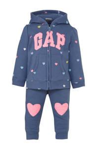 GAP tweedelige set vest en broek hartjes, Blauw/roze/geel