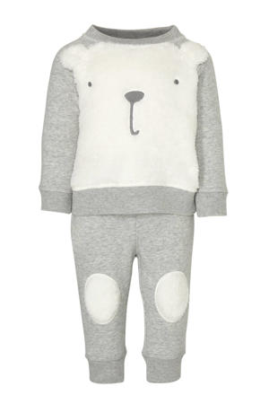 tweedelige set broek en sweater grijs/wit