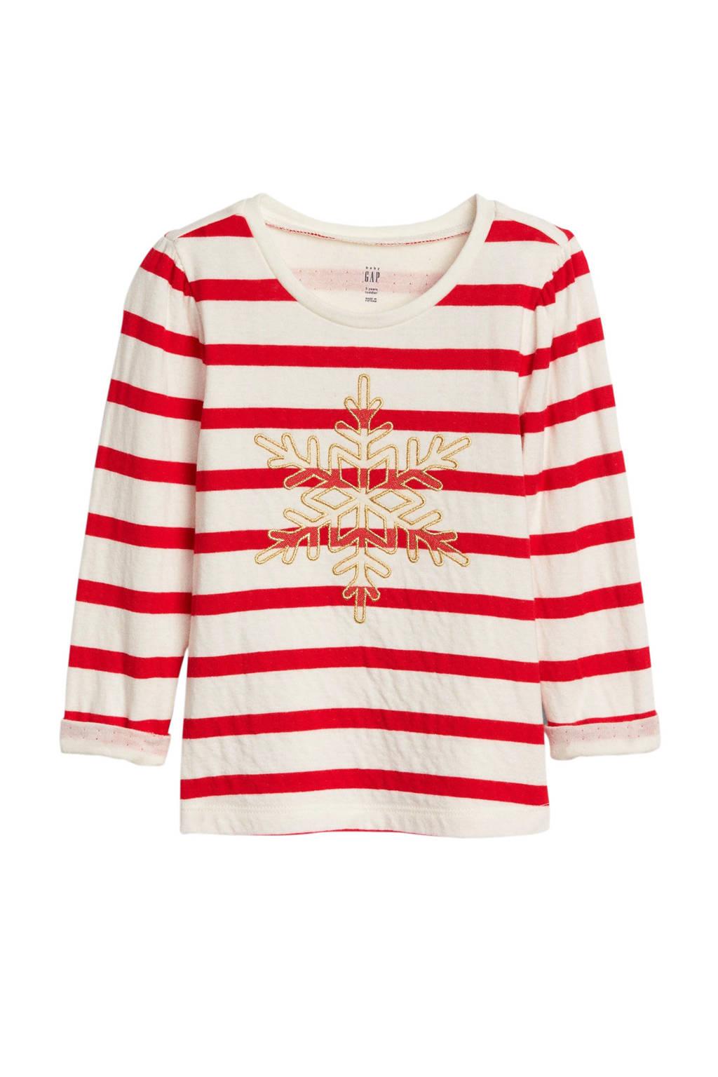 GAP gestreepte longsleeve met sneeuwvlok rood/offwhite, Rood/offwhite