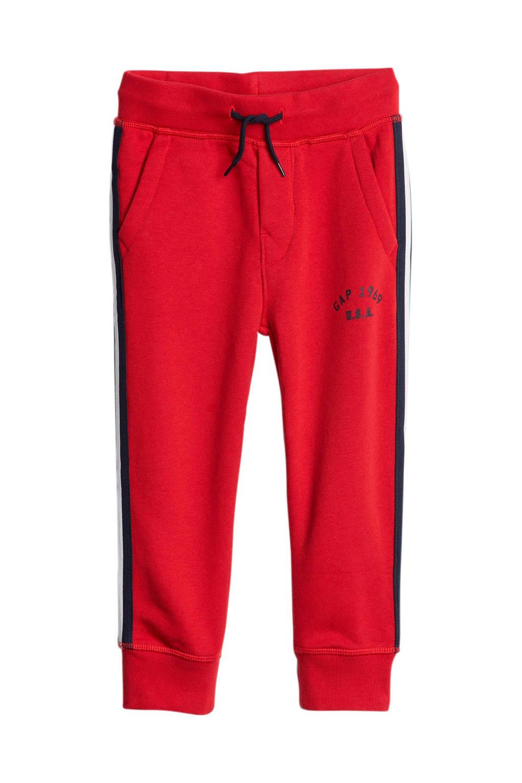 GAP   joggingbroek met zijstreep rood, Rood
