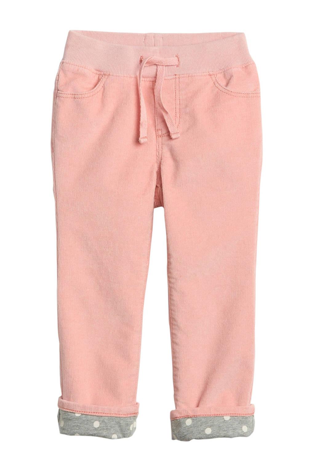 GAP corduroy broek met voering roze, Roze/grijs