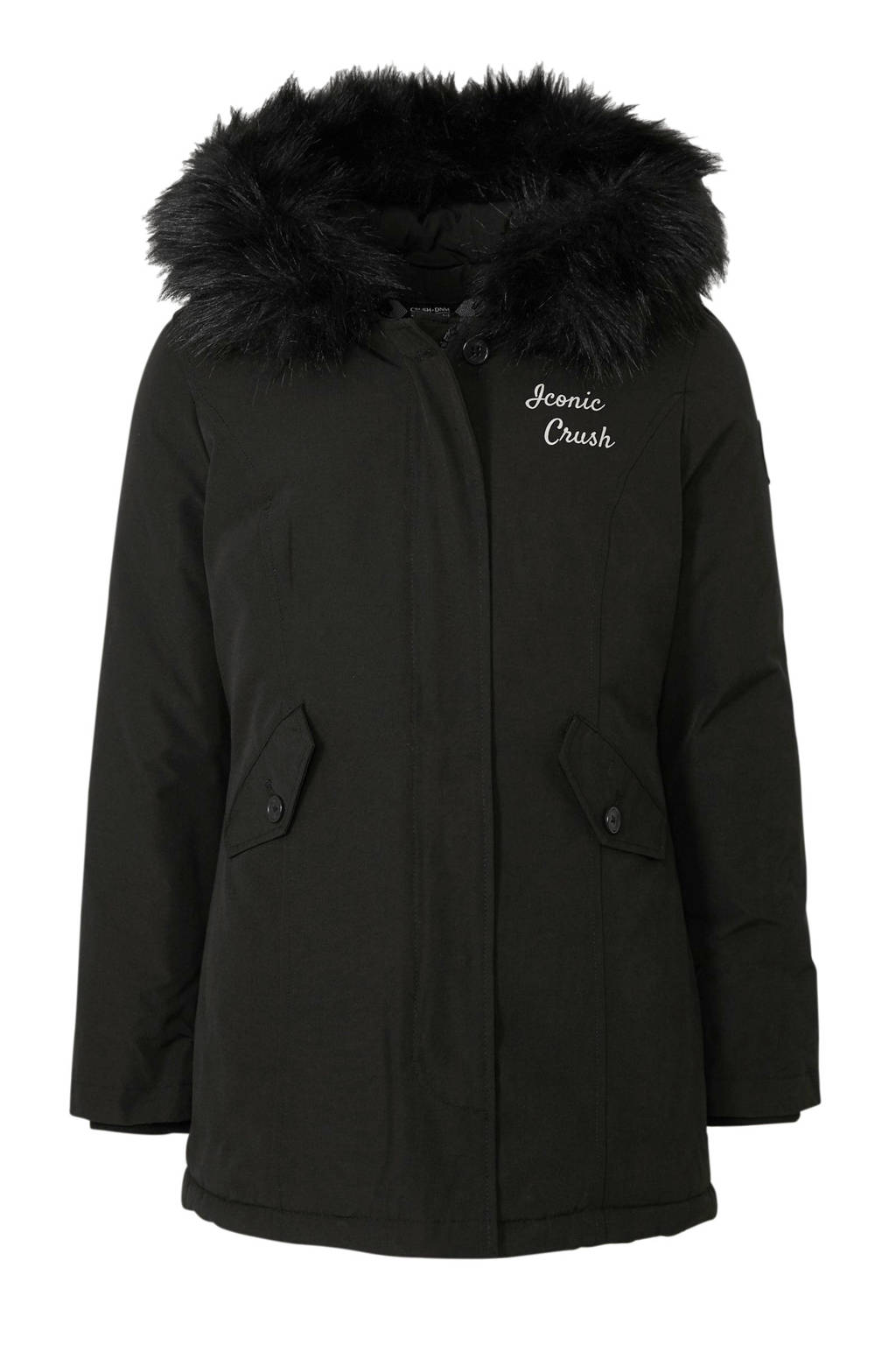 Crush Denim parka winterjas Joyce met tekst en patches zwart, Zwart