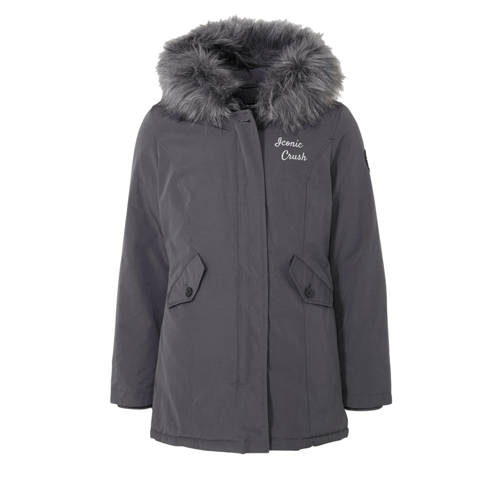 Crush Denim parka winterjas Joyce met tekst en pat