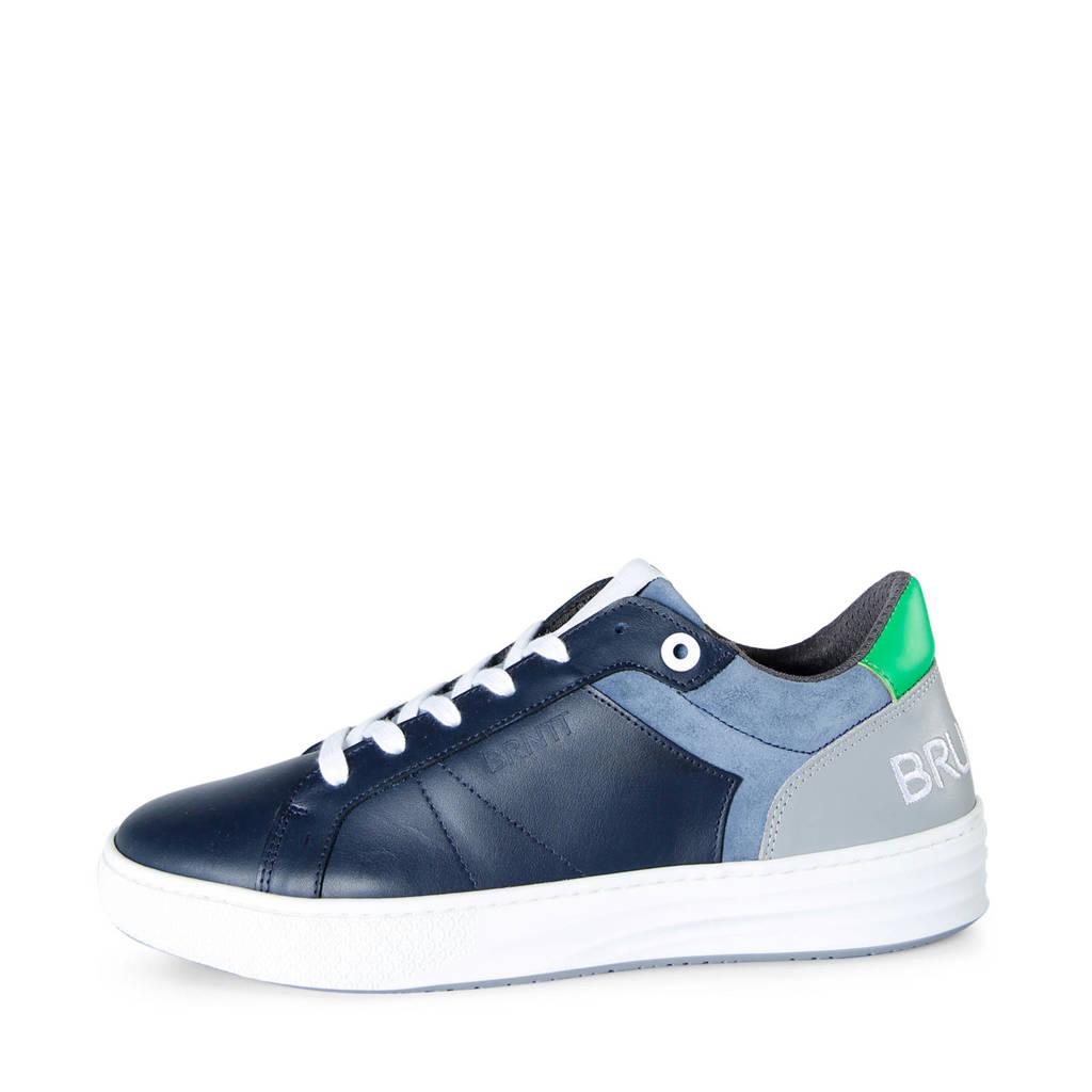 Brunotti Bundoran  leren sneakers blauw, Blauw