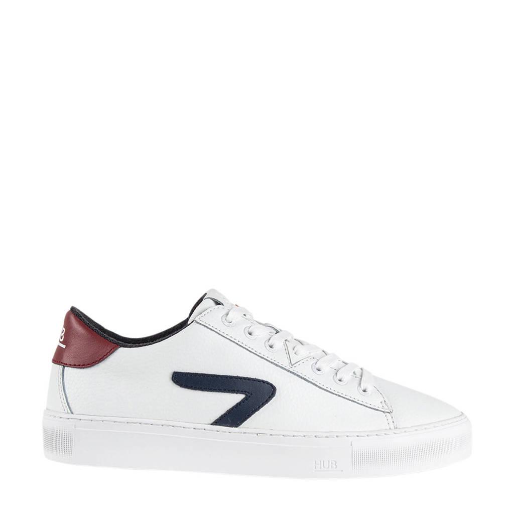 HUB HOOK CS Z-STITCH  leren sneakers wit/blauw/rood, Wit/blauw/rood
