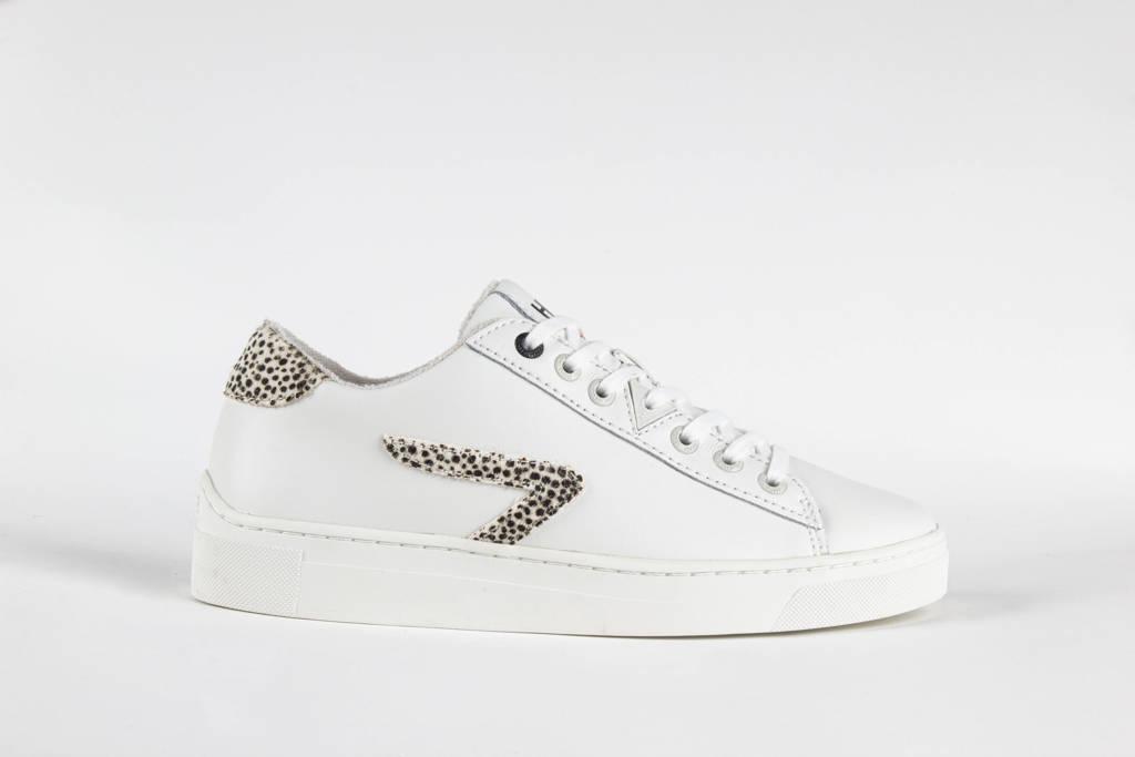 HUB HOOK LW Z-STITCH L31 leren sneakers wit/cheetahprint, Wit/beige