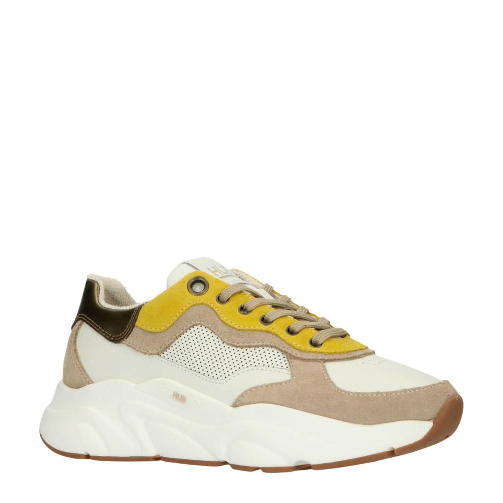 Hub Rock L66 leren chunky sneakers wit/okergeel, Wit/Bruin/Okergeel