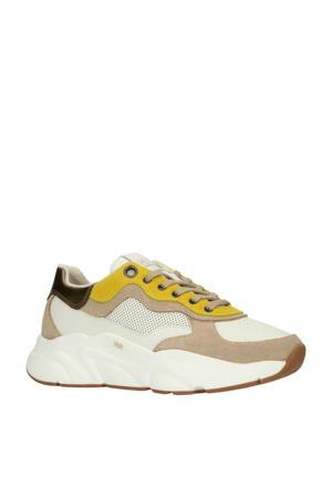 Hub Rock L66 leren chunky sneakers wit/okergeel