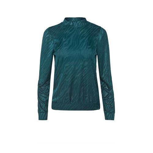 WE Fashion geweven top met jacquard groen