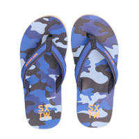 WE Fashion   teenslippers camouflage blauw, Blauw