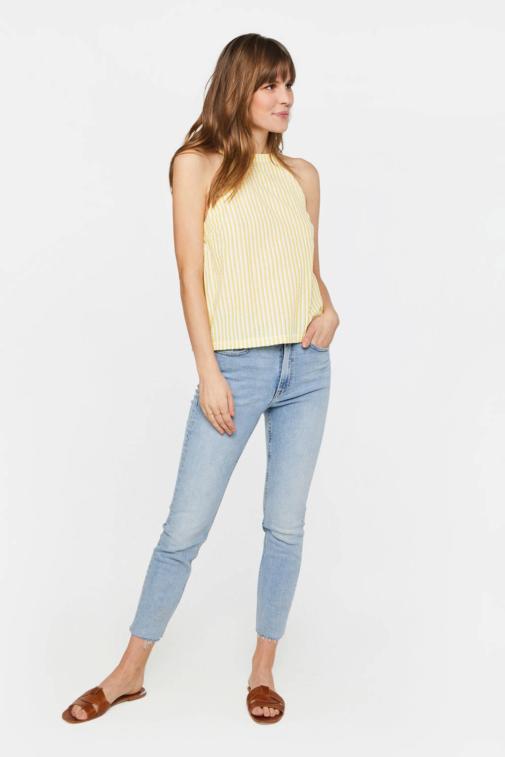 WE Fashion gestreepte top lemon yellow, lemon Yellow