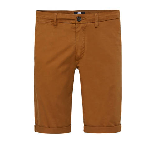 WE Fashion slim fit bermuda bruin