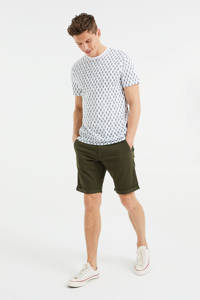 WE Fashion Fundamentals slim fit chino short donkergroen, Donkergroen