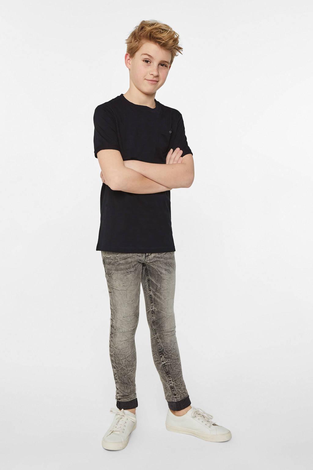 WE Fashion Fundamental T-shirt zwart, Zwart