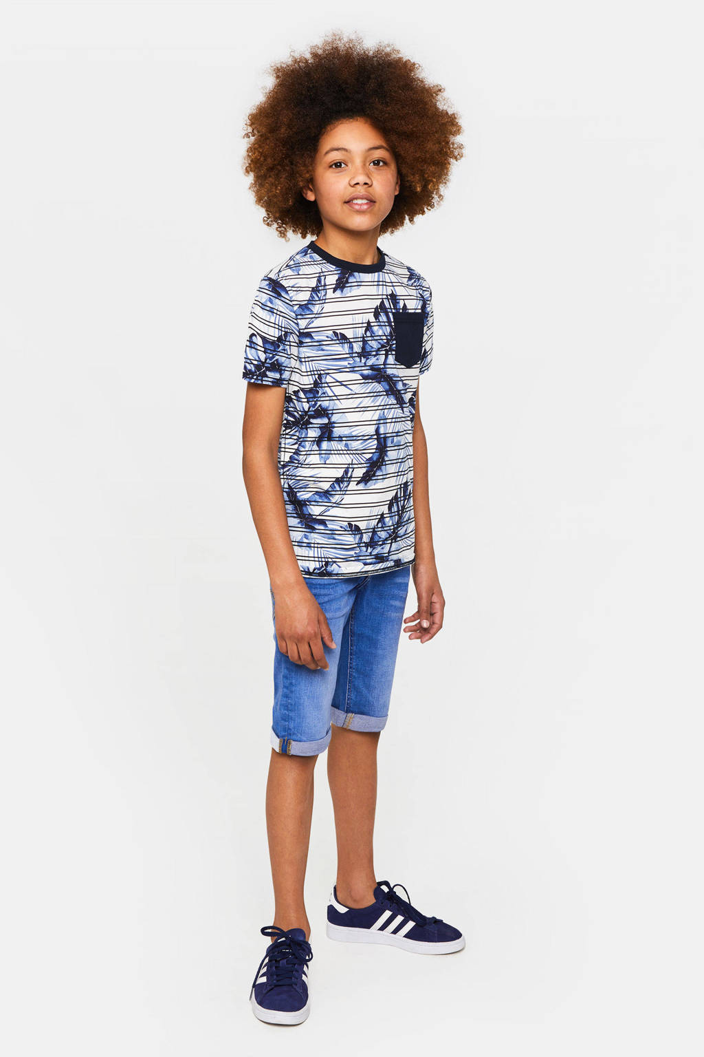 WE Fashion T-shirt met all over print wit/blauw, Wit/blauw