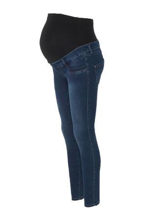 Positiemode high waist skinny zwangerschapsjeans donkerblauw
