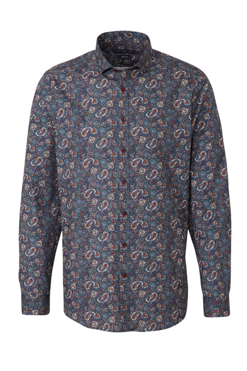 C&A Angelo Litrico slim fit overhemd met all over print blauw/multi, Blauw/multi