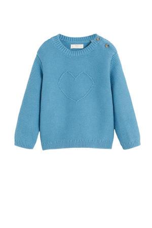 gebreide trui met borduursels blauw