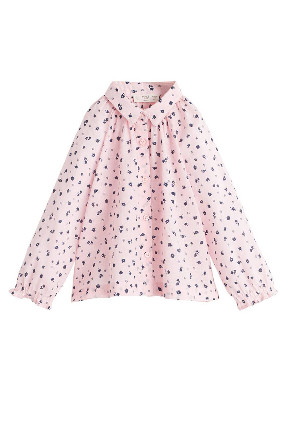 Mango Kids blouse met all over print roze/grijs, Roze/grijs