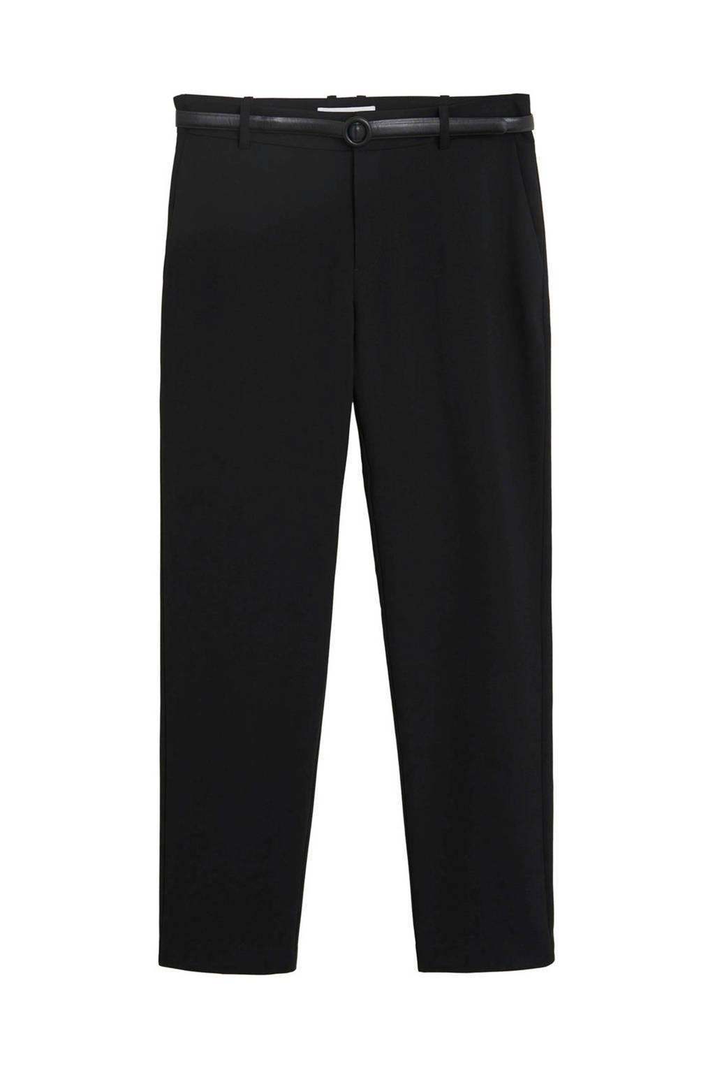 Mango straight fit pantalon zwart, Zwart
