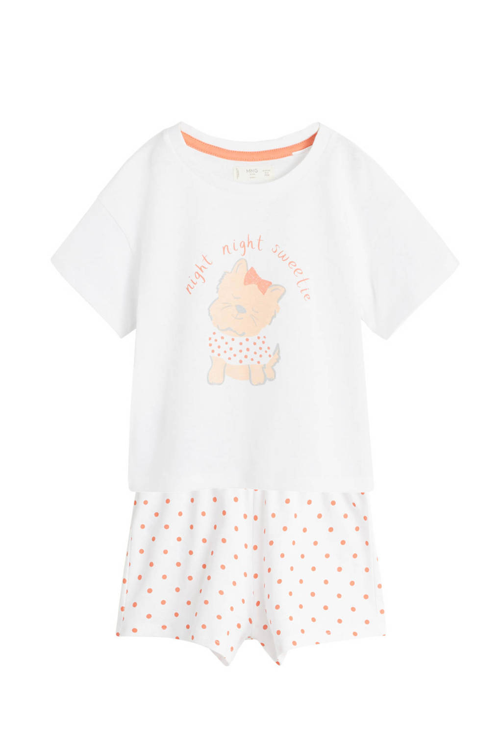 Mango Kids shortama met print wit/oranje, Wit/oranje