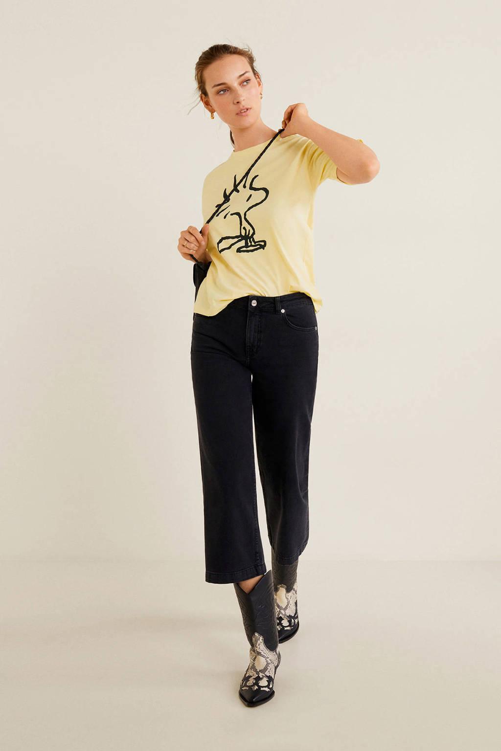 Mango T-shirt met logo geel, Geel