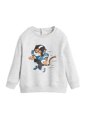sweater met printopdruk grijs melange/multi