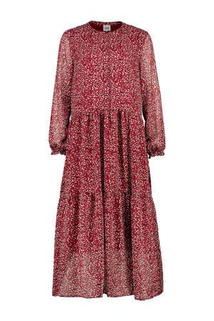 semi-transparante maxi jurk met panterprint rood/ecru/zwart