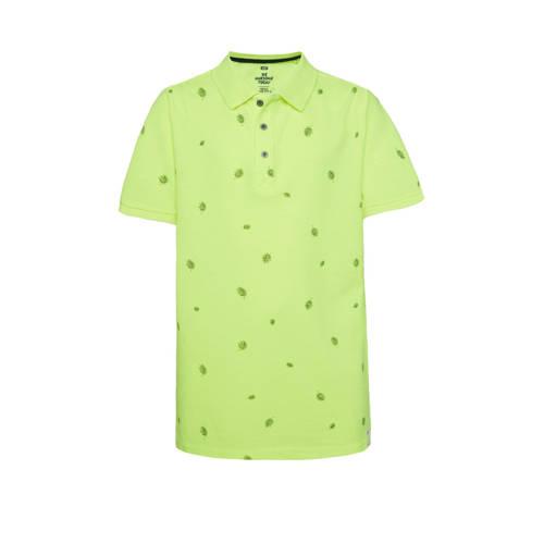 WE Fashion polo met bladprint neon geel/groen