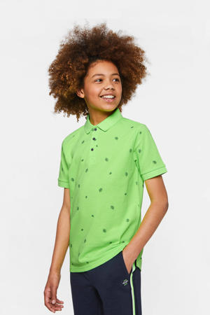 polo met all over print neon groen