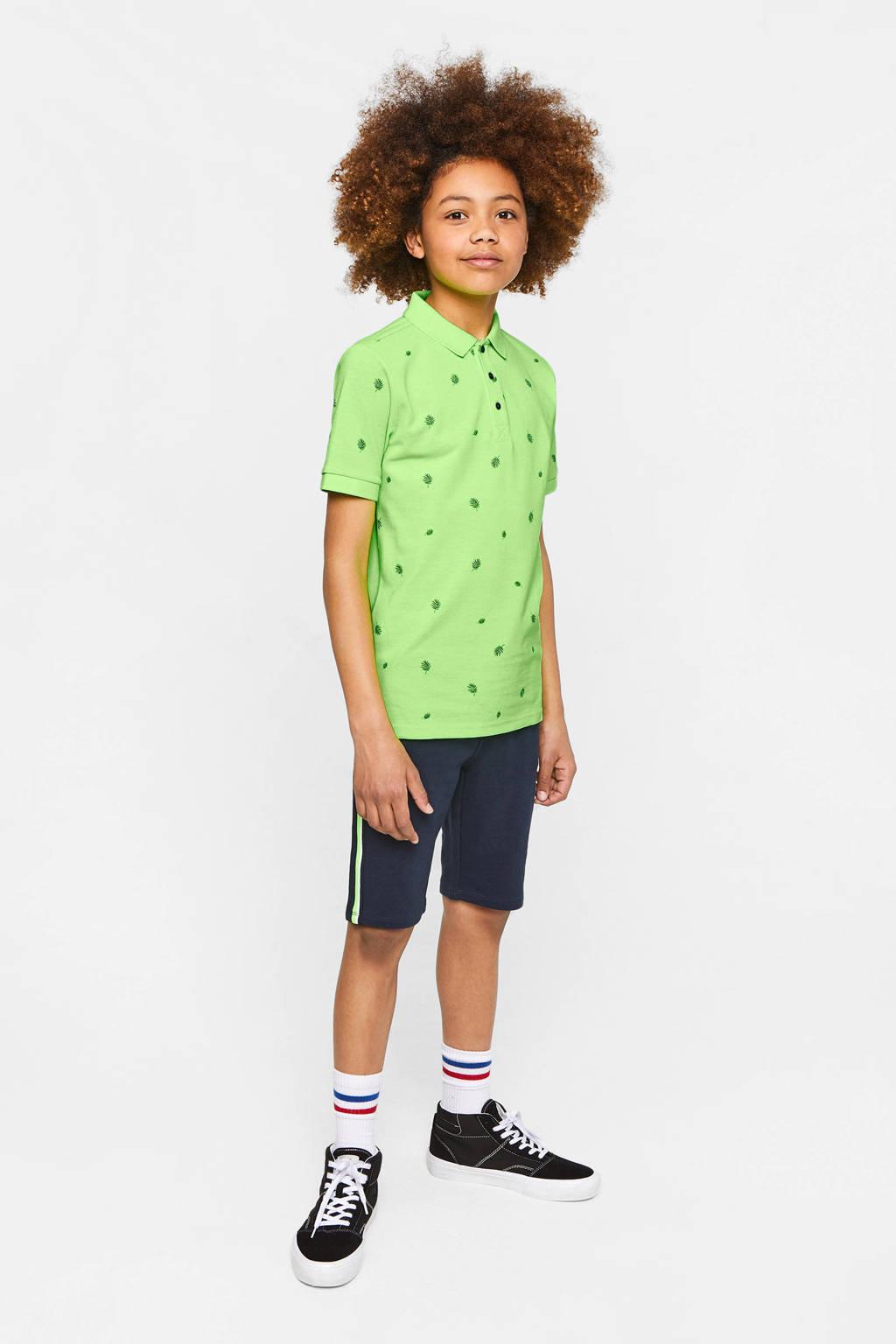 WE Fashion polo met all over print neon groen, Neon groen