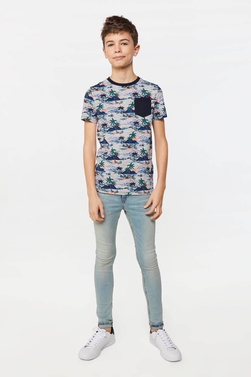 WE Fashion T-shirt met all over print grijs/multi, Grijs/multi