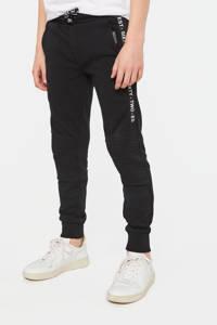 WE Fashion   slim fit joggingbroek met zijstreep en textuur zwart/wit, Zwart/wit