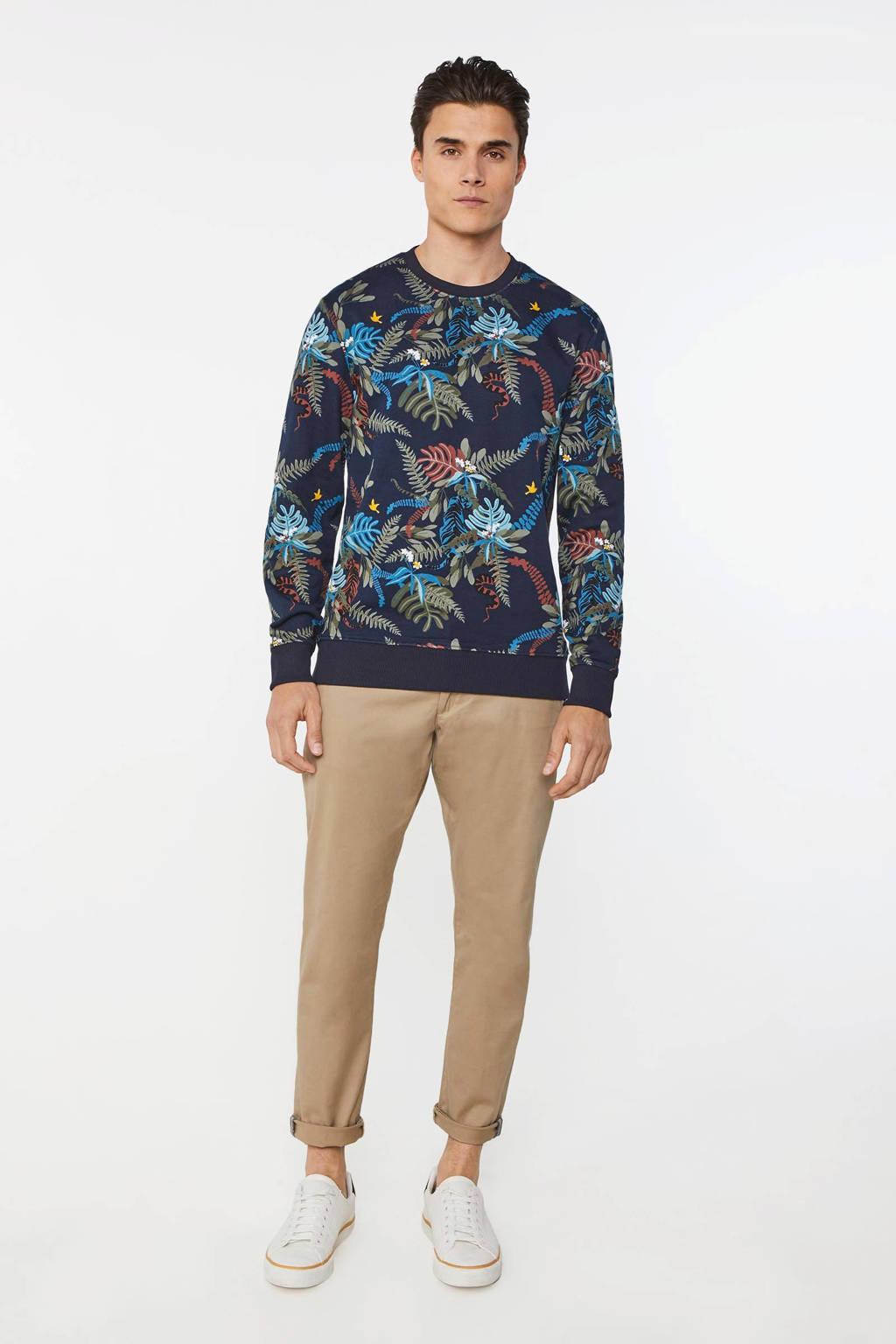 WE Fashion sweater met bladprint royal navy, Royal Navy