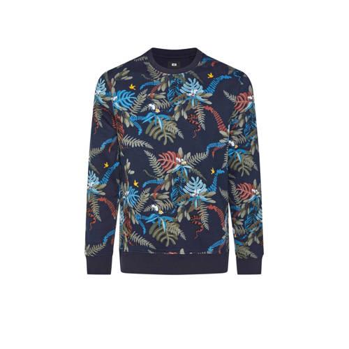 WE Fashion sweater met bladprint royal navy