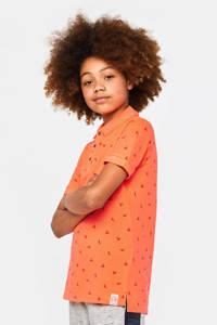 WE Fashion polo met all over print oranje, Oranje