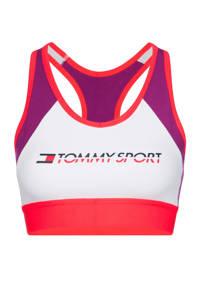 Tommy Hilfiger Sport level 3 sportbh wit/paars/roze, Wit/paars/roze