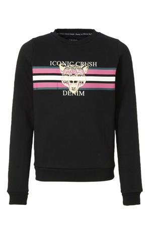 sweater Stephany met printopdruk zwart