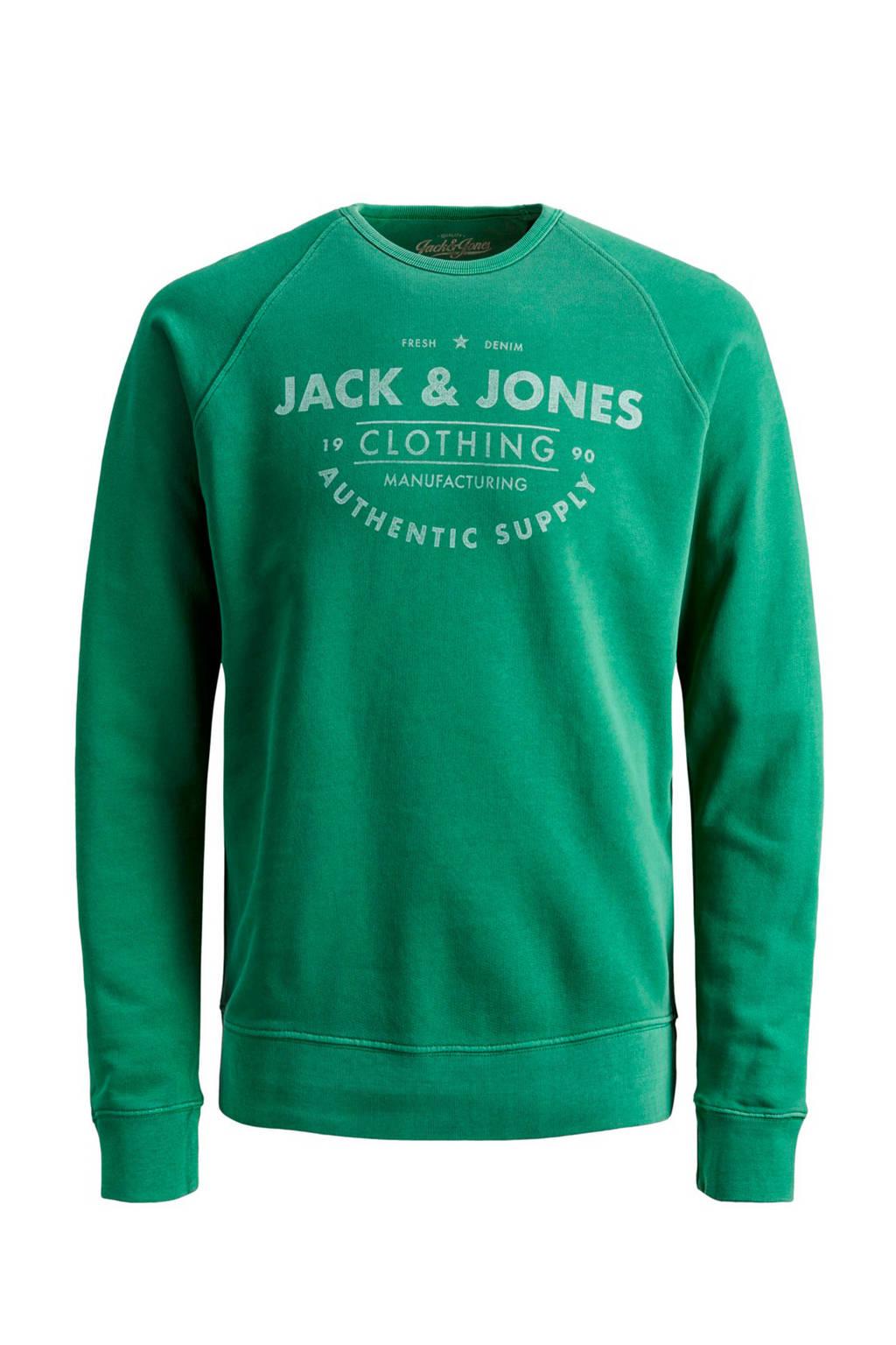 JACK & JONES JUNIOR sweater Jeans met tekst groen/wit, Groen/wit
