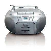 Lenco  SCD-420 draagbare radio/casette- en CD speler zilver, Zilver