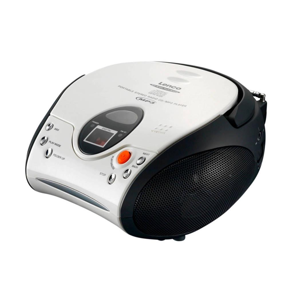 Lenco  SCD-24 draagbare radio/CD speler wit, Wit/zwart