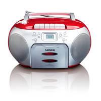 Lenco  SCD-420 draagbare radio/casette- en CD speler zilver/rood, Zilver/Rood
