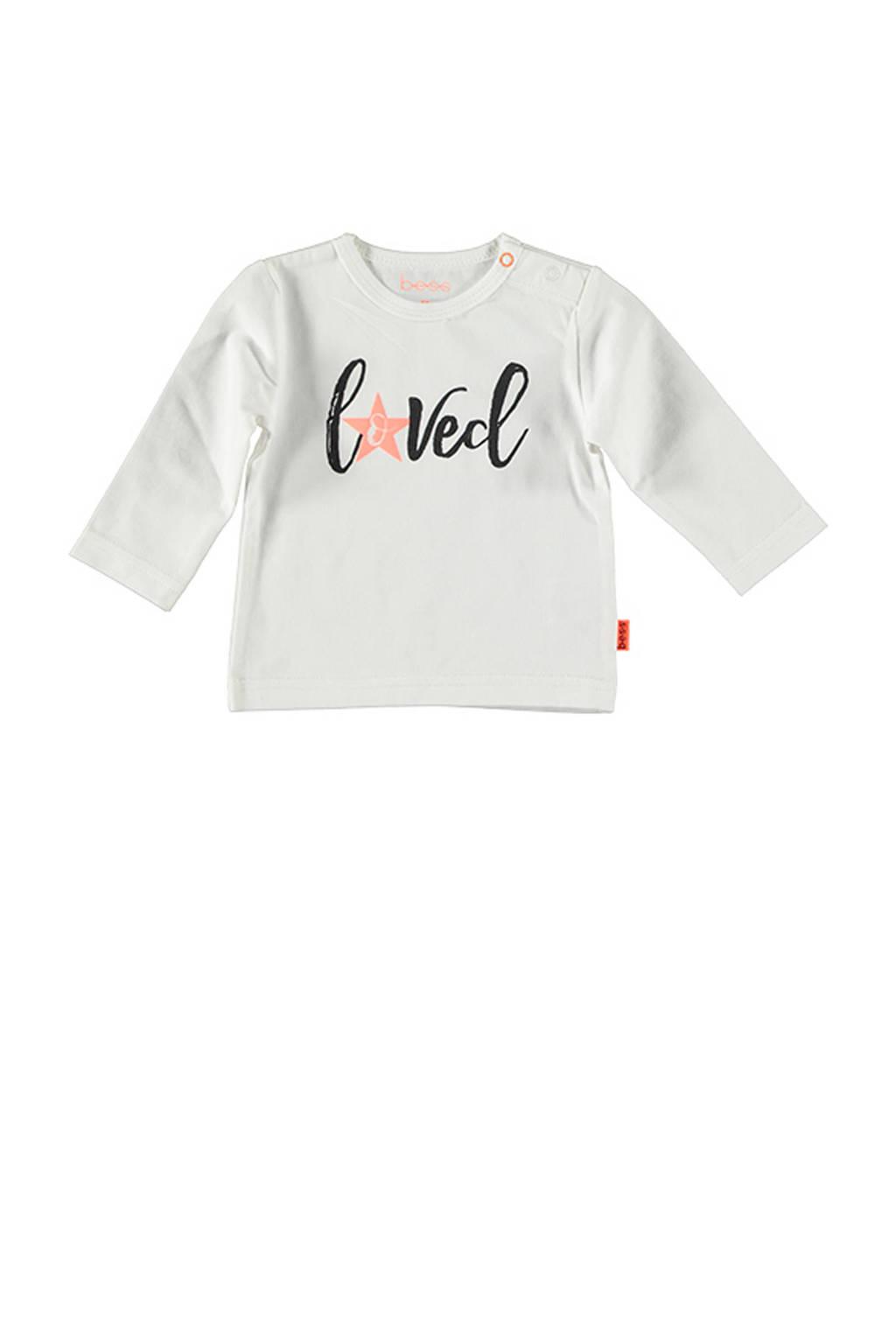 B.E.S.S baby longsleeve met tekst wit/zwart/roze, Wit/zwart/roze