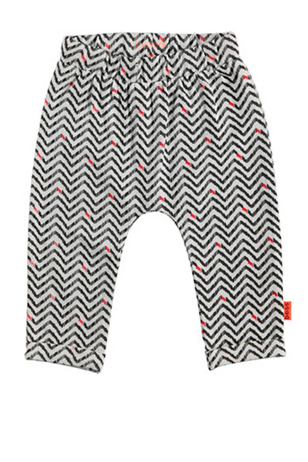 B.E.S.S baby broek met all over print zwart/wit/fluor oranje, Zwart/wit/fluor oranje
