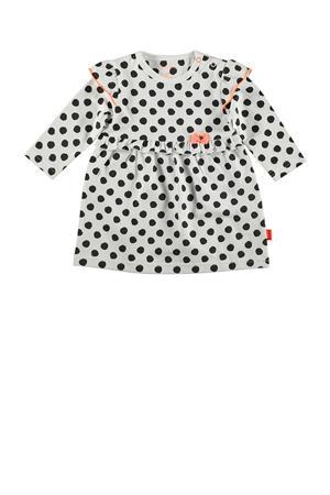B.E.S.S jersey jurk met stippen en ruches wit/zwart