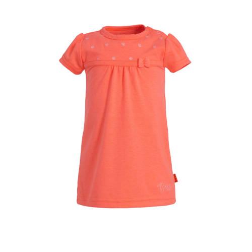 B.E.S.S jersey jurk met borduursels koraalrood