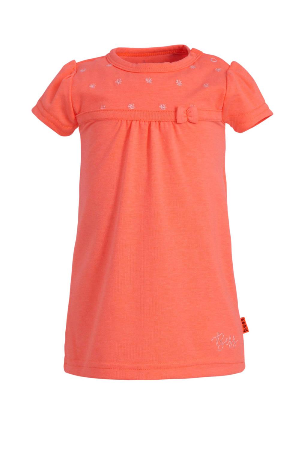 B.E.S.S jersey jurk met borduursels koraalrood, Oranje