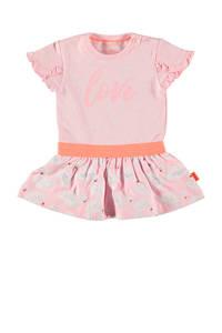 B.E.S.S jersey jurk met all over print en ruches lichtroze/wit/oranje, Lichtroze/wit/oranje