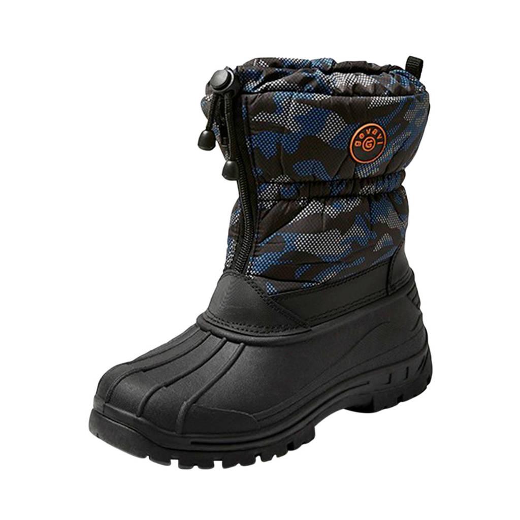 Gevavi   snowboots camouflage blauw, Blauw/zwart